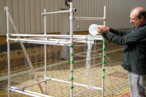 The prototype WireWall rig being tested at the National Oceanography Centre.